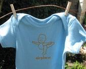 airplane baby buddha organic yoga onesie (blue/orange)