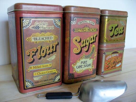 Vintage Cheinco Canisters Tin Flour / Sugar / Coffee / Tea 1977