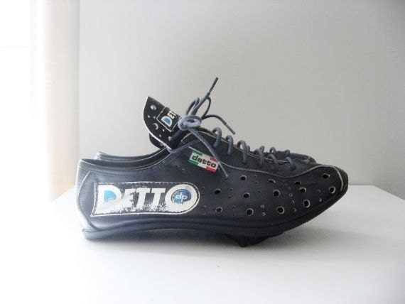 Vintage Cycling Shoes Detto Pietro Leather Perforated Size 38 LOOK Compatible