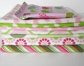 Pink & green elephants designer fabric bundle
