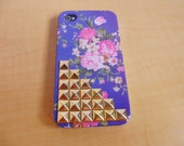 iphone 4 4S hand case cover with golden pyramid stud flowers For iPhone 4 Case, iPhone 4s Case, iPhone 4 GS Case,iPhone hand case cover