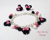 Minnie inspired charm bracelet and/or earrings pink style