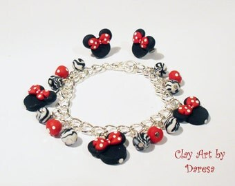 Minnie inspired charm bracelet and/or earrings red zebra style