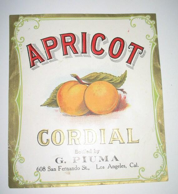 Apricot Cordial... G. Piuma Pre Prohibition Label
