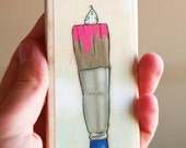 Magnet of my Miniature Bird on a Paintbrush Illustration