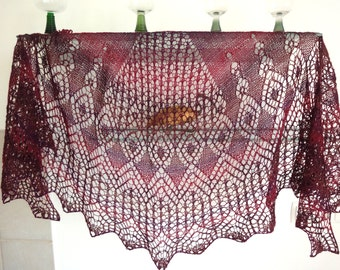 Lace shawlette  in shades of claret.      SALE