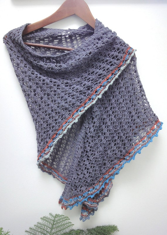 """Triangle lace cotton shawl  called """"Grey Mouse with Color Pigtail"""""""