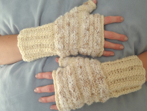 PRICE REDUCED  Warm and Soft Mittens on winter days, Fingerless Gloves, Wrist Warmers  OOAK