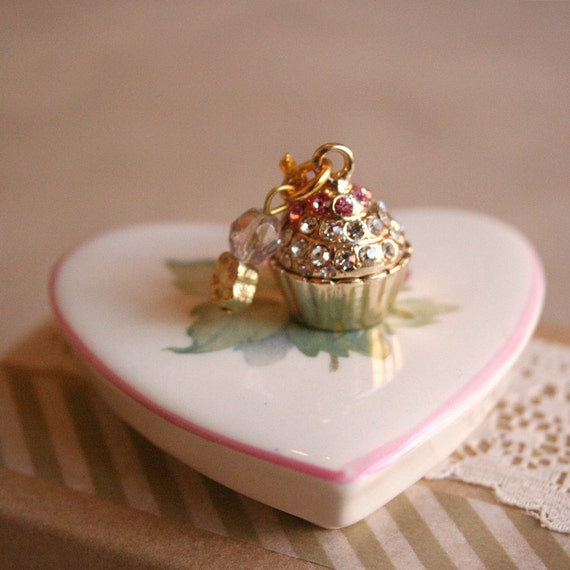 Let them Eat Cake - bejeweled cupcake charm necklace