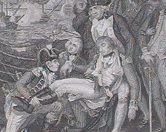 victorian etching on the deck of queen Charlote