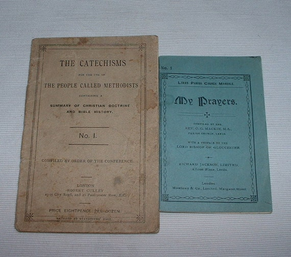 2 little 1900 paper back prayers  and catechisms books