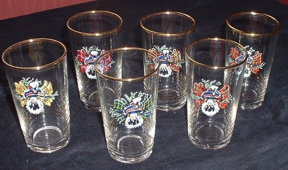 set of 6 1960 Scottish theme drinking glasses
