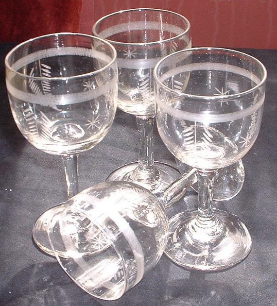 set of 4 victorian wine glasses