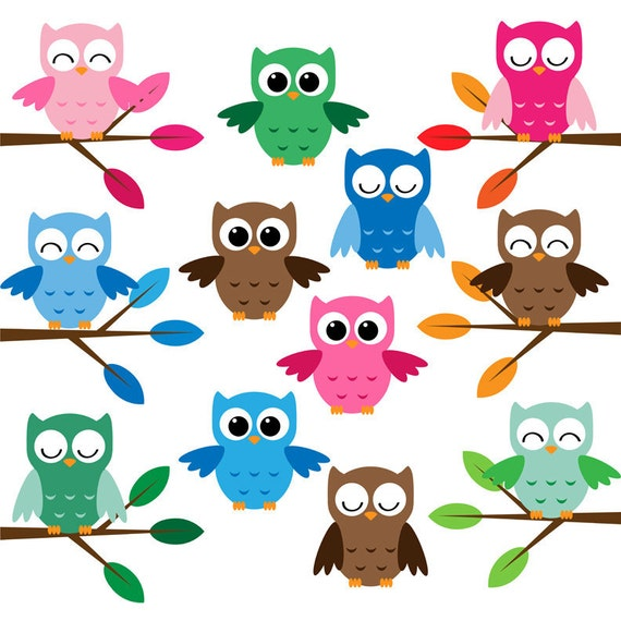 Items similar to Owls clip art 18png for commercial and ...