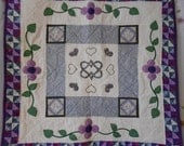 Price Reduced Hearts and Flowers appliqued purple and grey wall hanging