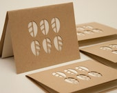 Recycled Note Card Set of Four, Cut Paper