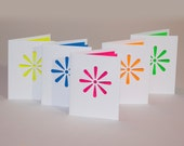 Teen Note Set, Flower Power Cut Paper Cards with Neon Color Liners