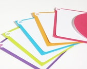 10 Personalized Initial Flat Note Cards Set - Bright Colors
