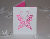 Butterfly Card, Cut Paper Greeting Card, Blank