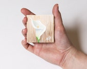 Miniature Flower Painting, Calla Lily Painting, Miniature Painting with Easel