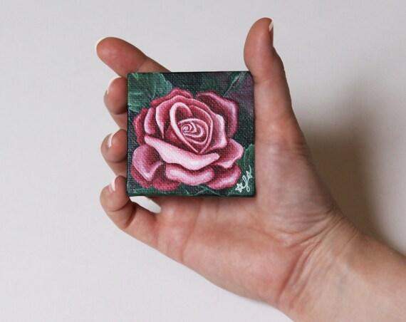 Pink Rose Painting, OOAK Miniature Flower Painting, Stocking Stuffer, Free Shipping