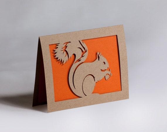Squirrel Card of Cut Paper in Kraft Brown and Orange