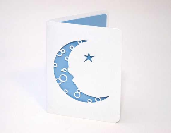 Blank Greeting Card - Moon and Star
