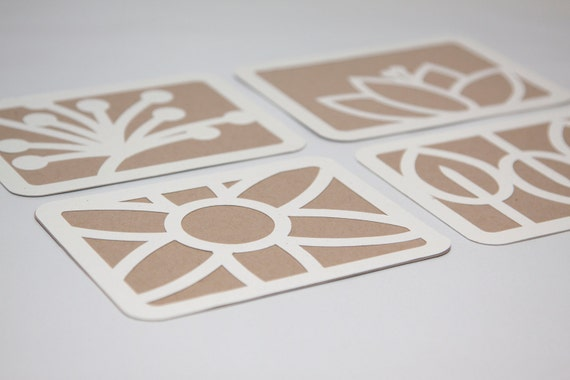 Cut Paper Art Card Set of Four, Recycled