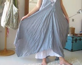 Butterfly- Sleeveless Pale Blue and White Long Dress  V neck style