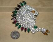 Reinad NYC Rhinestone Dress Clip Vintage Lion Clip Rare 1930's Signed Jewelry 58