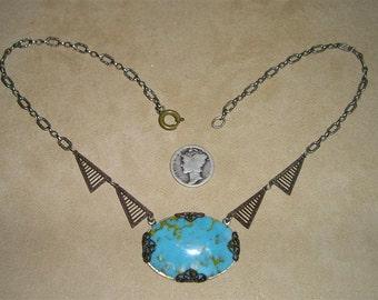 SALE Vintage Faux Turquoise Necklace 1920'S Art Deco Era Antique Glass Jewelry 2133
