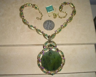 Swododa Jade Necklace Vintage 1960's Huge Signed With Original Foil Tag Jewelry 2311