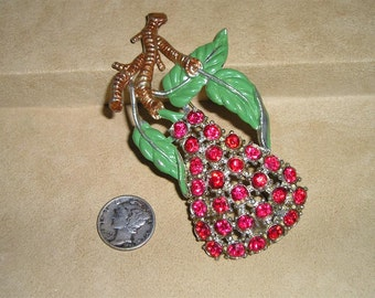 SALE Vintage Rhinestone Brooch Large Pear With Enamel 1930's Jewelry 2056
