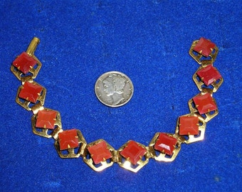 Vintage 1930's Bracelet Carnelian Quartz And Solid Brass Jewelry 152