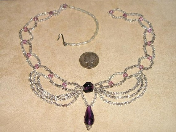 Vintage Necklace 1940's Purple & Clear Glass Beaded  Jewelry A65