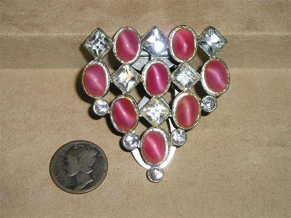 Signed SAN NY1930's Art Deco Pink Glass Moon Stone Rhinestone Dress Clip Vintage Jewelry K33