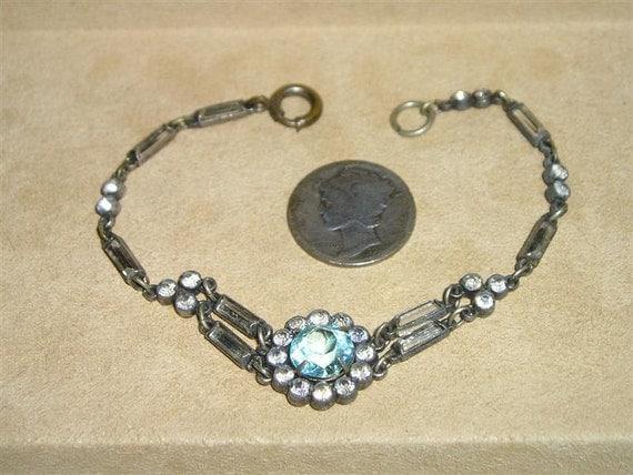 Art Deco Rhinestone Bracelet Vintage 1920's Baguette Jewelry 2174