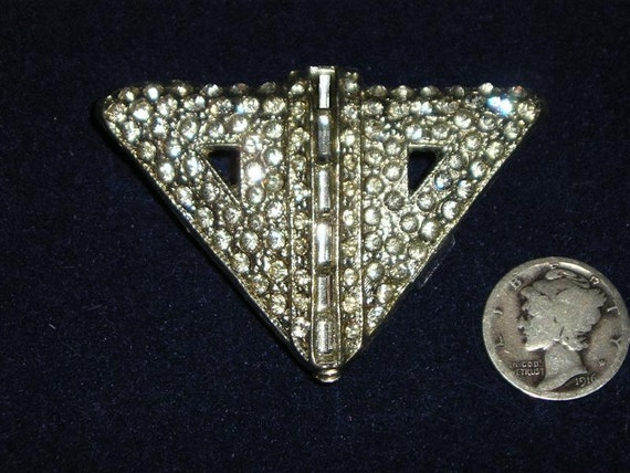 Art Deco Rhinestone Dress Clip Vintage 1920's Signed WMCA Jewelry 2171