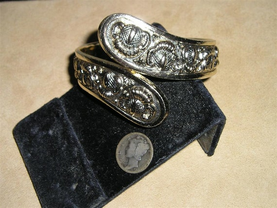 West Germany Bracelet Vintage 1960's Hinged Clamper Signed Jewelry H15