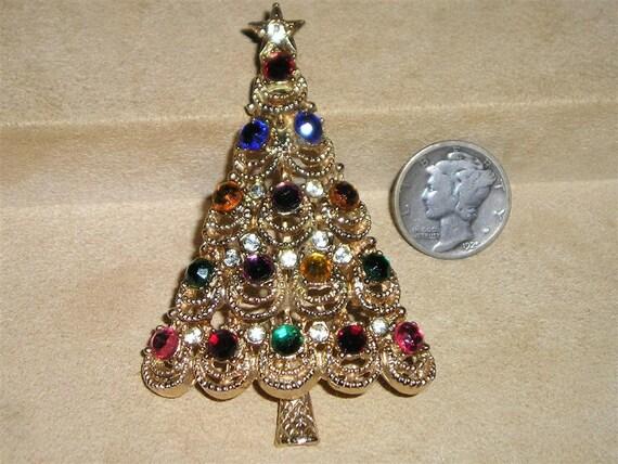 Vintage Rhinestone Christmas Tree Pin 1960's Jewelry 2294