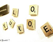 Scrabble Your Messages: Honey Colored Custom Scrabble Letter Magnets (Set of 6)