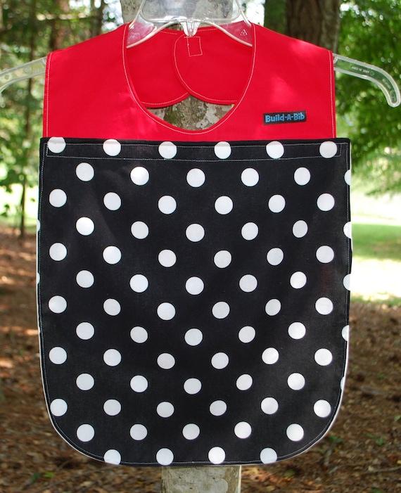 SALE, Adult Bib, polka dot,changeable, black & white set