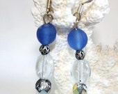 Beach Glass Earrings Cobalt Blue Sea Glass Frosted Drops Sterling Silver French Hooks