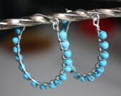 Turquoise Hoop Earrings Sterling Silver Beaded