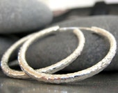 """COUPON for 40% off ....use SALE40..... Hammered 1,5"""" Sterling Silver Earring Hoops - Handmade No1"""