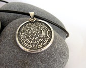 COUPON for 40% off ....use SALE40 -Sterling Silver Phaistos Disc Pendant - Greek Ancient - Size Large