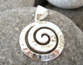 Grecian Hammered touched Sterling Silver Swirl Pendant - Greek Ancient - Size Small
