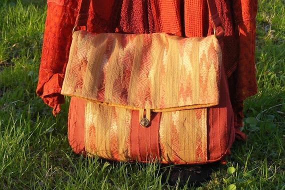 EXTRA 20 % off  SALE 54.40 REG 68  Large Boho Hippie Messenger Flap Bag Adjustable Red Gold Aztec Print