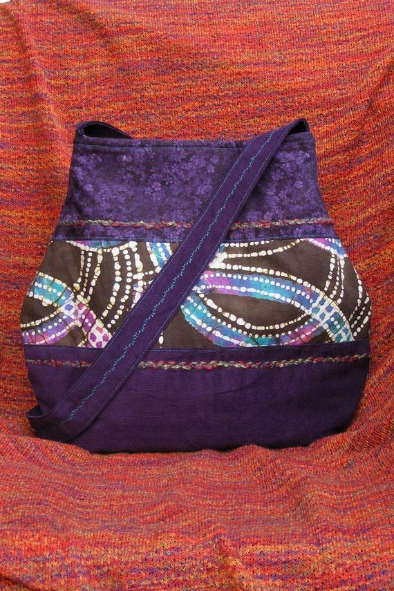 CLEARANCE Hippie Shoulder Bag Satchel Purple Paisley Multi