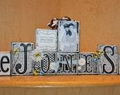 Wedding Block Set/ Custom Name Block Set/ Personalized Name Blocks/ Wedding Fresh Daisies Custom Boutique Name Block Set